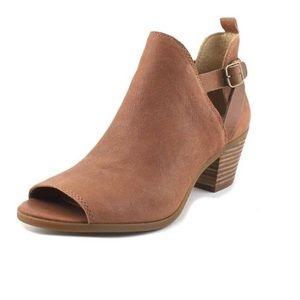 EUC Lucky Brand Banu Booties peep toe light brown
